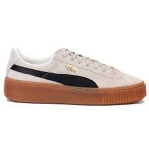 Puma suede platform white/black shoes